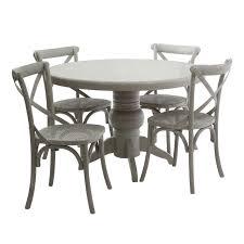 vermont 5pc dining kitchen set grey wash wooden round table 4 chairs
