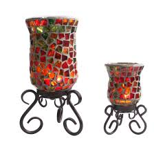 mosaic votive candle holders on a metal holder 4