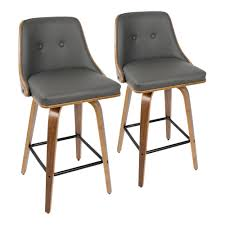 walnut and grey faux leather counter stool set of 2