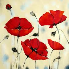 original painting red poppies abstract oil flowers palette knife painting poppy fields