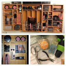 DIY wall makeup organizer: You'll need: -enough bamboo drawer organizers to