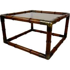 vintage square coffee table in wood metal and glass 1970s