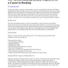 Objective For Banking Resume Resume Objective For Bank Job Free Resumes Tips 3