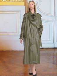 higgs leathers charlotte women s designer green leather trench coats at uk