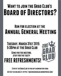 The Grad Clubs Agm March 31st The Grad Club