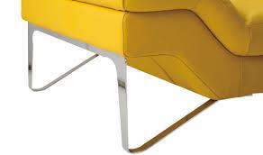 vig divani casa 994b modern leather sectional sofa in yellow closeup leg view