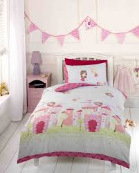girls pink fairy castle fairy tale princess toddler duvet cover bedding bed set