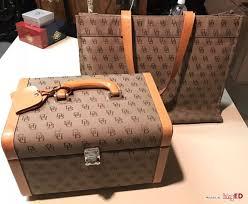 vintage dooney bourke orange leather canvas cosmetic train case large tote
