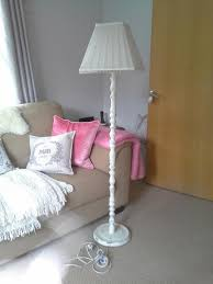 old and vintage shabby chic floor lamp made from reclaimed wood painted with white color with shade ideas