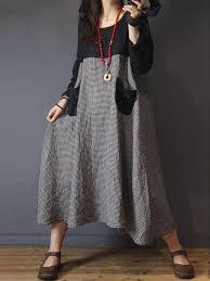 Risultati immagini per banggood Women Long Sleeve Plaid Patchwork Vintage Casual Midi Shirt Dress