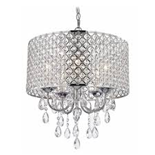 crystal chrome chandelier pendant light with crystal beaded drum shade alt1