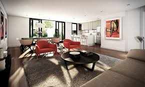 ... Studio Apartment Interior Design Ideas With Red Sofa Dining Room Big  Size Rug Dark Coffee Table ...