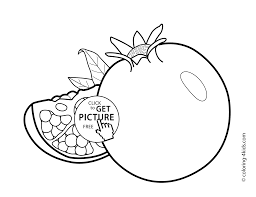 Pomegranate Fruits Coloring Pages For Kids Printable Free Coloing