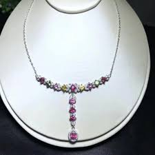 2019 natural multicolor tourmaline necklace natural gemstone pendant necklace s925 silver trendy heart chain women wedding jewelry from wutiamou