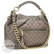Marc Jacobs Mouse Brown Quilted Calfskin Leather Hobo Stam Bag ... & Marc Jacobs Mouse Brown Quilted Calfskin Leather Hobo Stam Bag Adamdwight.com