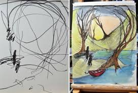 mom transforms toddlers ink sketches into beautiful paintings paintings ink drawings