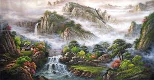 comparation of western landscape oil painting and chinese traditional landscape paintings