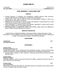 Child Welfare Case Worker Resume