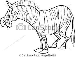 cartoon ilration of funny zebra for coloring book