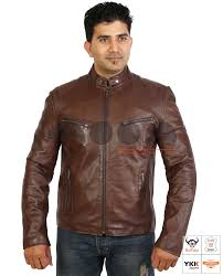 latest biker style fitted leather jacket foster brown