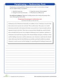 paraphrasing sedimentary rock reading comprehension worksheets  paraphrasing sedimentary rock