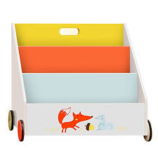 Wooden Book Display Stand Labebe Kid Bookshelf With Wheels Orange Fox Wood Bookshelf For 86
