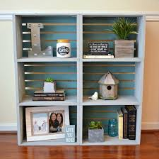 how about ing several old wooden crates together to make a large bookcase