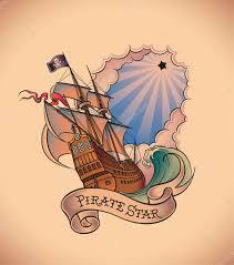 тату пиратов старая школа тату пират звезда векторное