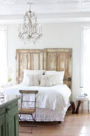 Bedroom:Chic Bedroom With White Comfy Chic Bed Also Old Door Headboard And  White Curtain