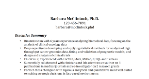 the most important thing on your resume the executive summary biostatistician