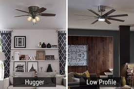 the visual difference between hugger and low profile ceiling fans is shown