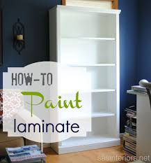 how to spray paint laminate furnitureI recently shared my newly styled bookshelves but before I added