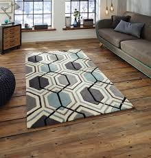 hong kong rug collection geometric design rug in grey and blue