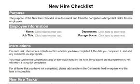 New Hire Form Template | Ophion.co