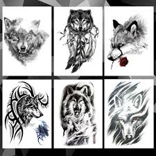 водонепроницаемые временные татуировки наклейки волк шаблон