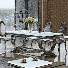 Esstisch Amelie 200 x 100 cm Esszimmertisch Glas Edelstahl Tisch