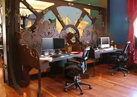 steampunk office. the individual desks all have same basic construction so even though each one steampunk office y