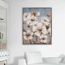 white poppy filed fl framed canvas wall art