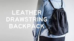 diy leather drawstring backpack with a side seam zipper