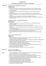 Acquisition Specialist Resume Samples Velvet Jobs