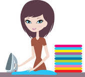 ironing clothes clipart. Contemporary Clothes Young Cartoon Woman Irons Clothes On Ironing Clothes Clipart