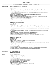 Dietitian Assistant Sample Resume Nutrition Assistant Resume Samples Velvet Jobs 4