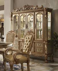 Dresden Luxury Ornate Formal <b>China Cabinet</b> In <b>Antique Gold</b> Patina