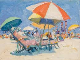 beach scene with red and white umbrellas university of maryland art gallery