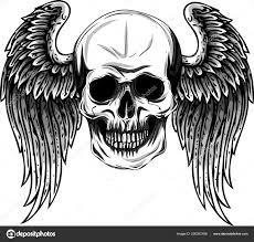 человеческий череп крыльями тату дизайн вектор иллюстратор
