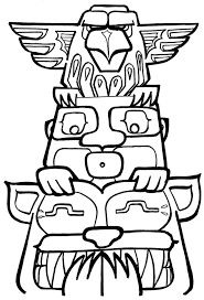 Totem Pole Coloring Pages Native American Totem Pole Coloring Pages
