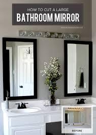 how to cut a bathroom mirror in half