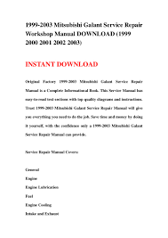 1999 2003 mitsubishi galant service repair workshop manual