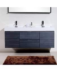 Deals For Tenafly 59 Wall Mounted Double Bathroom Vanity Set Base Finish Gray Oak
