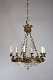 antique bronze french empire six arm chandelier with